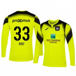 2019/20 Davy Roef Anderlecht Goalkeeper Yellow Long Sleeve Authentic Jersey