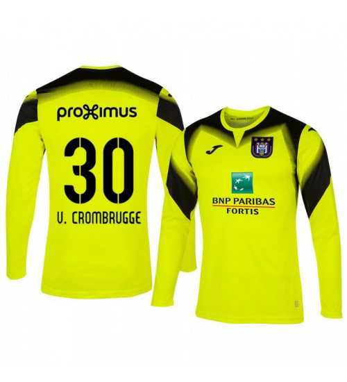 2019/20 Hendrik Van Crombrugge Anderlecht Goalkeeper Yellow Long Sleeve Replica Jersey