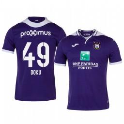 2019/20 Jeremy Doku Anderlecht Home Purple Short Sleeve Authentic Jersey