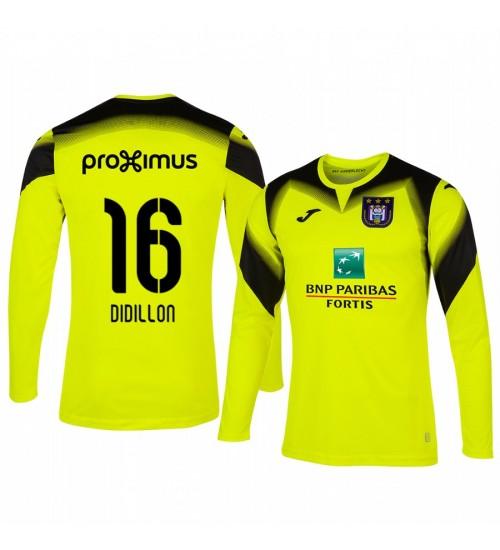 2019/20 Thomas Didillon Anderlecht Goalkeeper Yellow Long Sleeve Authentic Jersey
