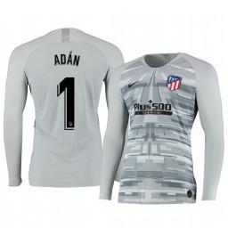 2019/20 Atletico de Madrid Antonio Adan Gray Long Sleeve Goalkeeper Authentic Jersey