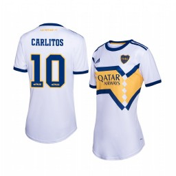 Women's 2019/20 Boca Juniors Carlos Tevez White Away Short Sleeve Authentic Jersey