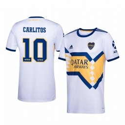 Youth 2019/20 Boca Juniors Carlos Tevez White Away Short Sleeve Authentic Jersey
