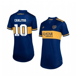 Women's 2019/20 Boca Juniors Carlos Tevez Navy Home Short Sleeve Authentic Jersey