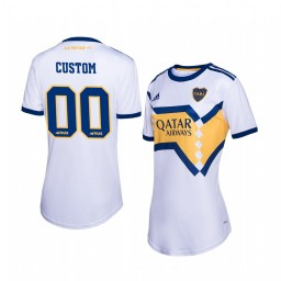 Women's 2019/20 Boca Juniors Custom White Away Short Sleeve Authentic Jersey