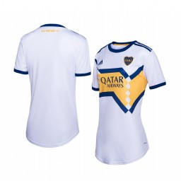 Women's 2019/20 Boca Juniors White Away Short Sleeve Authentic Jersey