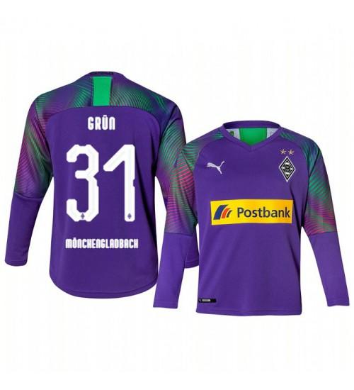 Youth 2019/20 Borussia Monchengladbach Max Grun Goalkeeper Authentic Long Sleeve Replica Jersey