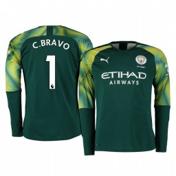 2019/20 Manchester City Claudio Bravo Green Home Goalkeeper Authentic Jersey
