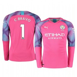 2019/20 Manchester City Claudio Bravo Pink Away Goalkeeper Authentic Jersey