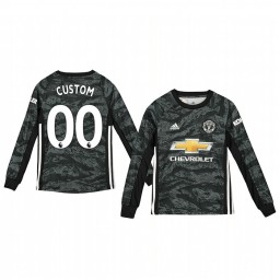 Youth 2019/20 Manchester United Custom Dark Grey Away Goalkeeper Authentic Jersey