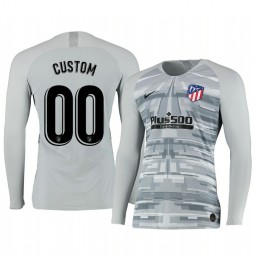 2019/20 Atletico de Madrid Custom Gray Long Sleeve Goalkeeper Authentic Jersey