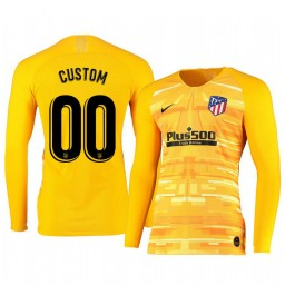 2019/20 Atletico de Madrid Custom Yellow Long Sleeve Goalkeeper Authentic Jersey
