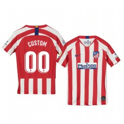 Youth 2019/20 Custom Atletico de Madrid Home Red White Official Short Sleeve Authentic Jersey