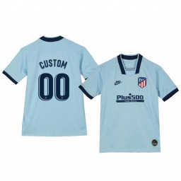 Youth 2019/20 Custom Atletico de Madrid Third Light Blue Alternate Short Sleeve Authentic Jersey
