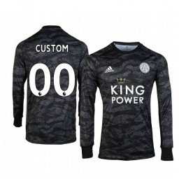 Youth 2019/20 Leicester City Custom Black Goalkeeper Long Sleeve Authentic Jersey