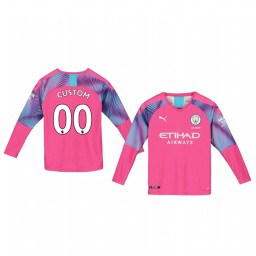 Youth 2019/20 Manchester City Custom Pink Away Goalkeeper Replica Jersey