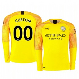 2019/20 Manchester City Custom Yellow Third Goalkeeper Authentic Jersey