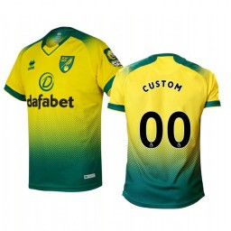 2019/20 Custom Norwich City Home Yellow Green Official Short Sleeve Authentic Jersey