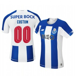 Women's 2019/20 Custom Porto Home Blue White Official Short Sleeve Authentic Jersey