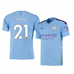 2019/20 David Silva Manchester City Home Short Sleeve Authentic Jersey