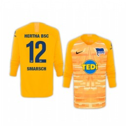 Youth 2019/20 Hertha BSC Dennis Smarsch Yellow Goalkeeper Long Sleeve Authentic Jersey