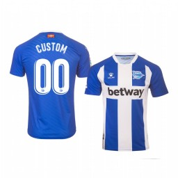 Youth 2019/20 Deportivo Alaves Custom Blue White Home Short Sleeve Authentic Jersey