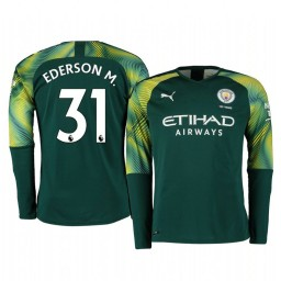 2019/20 Manchester City Ederson Green Home Goalkeeper Authentic Jersey