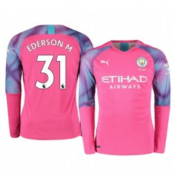 2019/20 Manchester City Ederson Pink Away Goalkeeper Authentic Jersey