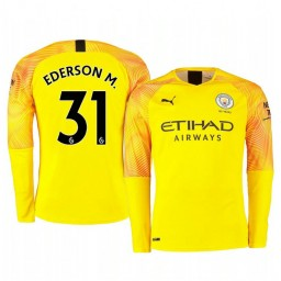 2019/20 Manchester City Ederson Yellow Third Goalkeeper Authentic Jersey