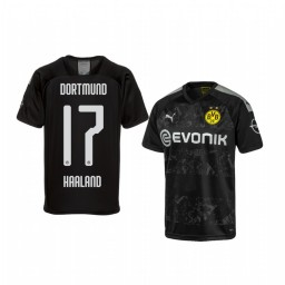 Youth 2019/20 Erling Haaland Borussia Dortmund Away Black Official Short Sleeve Authentic Jersey