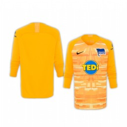 Youth 2019/20 Hertha BSC Yellow Goalkeeper Long Sleeve Authentic Jersey