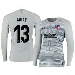2019/20 Atletico de Madrid Jan Oblak Gray Long Sleeve Goalkeeper Authentic Jersey