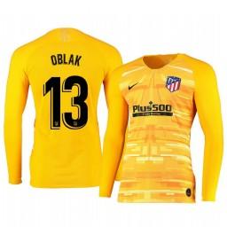 2019/20 Atletico de Madrid Jan Oblak Yellow Long Sleeve Goalkeeper Authentic Jersey