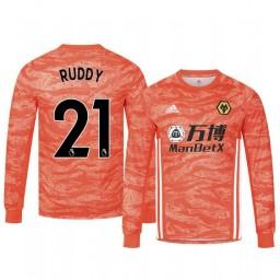2019/20 Wolverhampton Wanderers John Ruddy Orange Goalkeeper Away Authentic Jersey