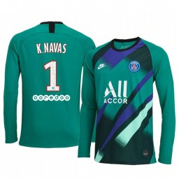 2019/20 Paris Saint-Germain Keylor Navas Green Long Sleeve Goalkeeper Authentic Jersey
