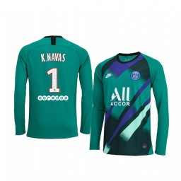 Youth 2019/20 Paris Saint-Germain Keylor Navas Green Long Sleeve Goalkeeper Authentic Jersey