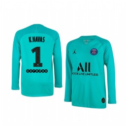 Youth 2019/20 Paris Saint-Germain Keylor Navas LIght Green Long Sleeve Goalkeeper Authentic Jersey
