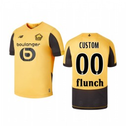Youth 2019/20 Lille OSC Custom Gold Away Short Sleeve Authentic Jersey