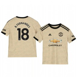Youth 2019/20 Manchester United Bruno Fernandes Tan Away Short Sleeve Authentic Jersey