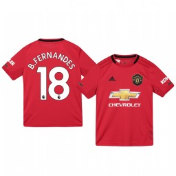 Youth 2019/20 Manchester United Bruno Fernandes Red Home Short Sleeve Authentic Jersey