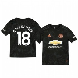 Youth 2019/20 Manchester United Bruno Fernandes Black Third Short Sleeve Authentic Jersey