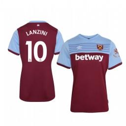 Women's 2019/20 Manuel Lanzini West Ham United Home Short Sleeve Authentic Jersey