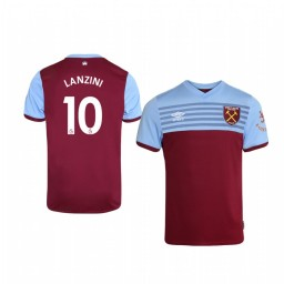Youth 2019/20 Manuel Lanzini West Ham United Home Short Sleeve Authentic Jersey
