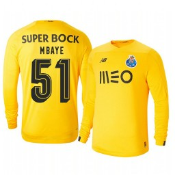 2019/20 Porto Mouhamed Mbaye Yellow Goalkeeper Third Authentic Jersey
