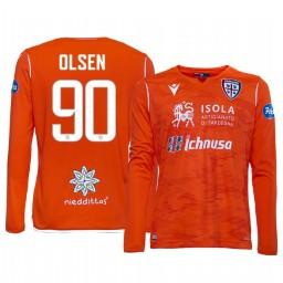 Youth 2019/20 Cagliari Calcio Robin Olsen Orange Goalkeeper Away Authentic Jersey