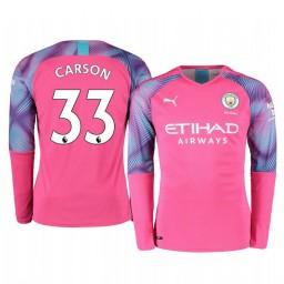 2019/20 Manchester City Scott Carson Pink Away Goalkeeper Authentic Jersey