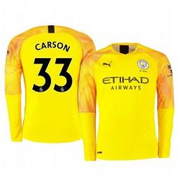 2019/20 Manchester City Scott Carson Yellow Third Goalkeeper Authentic Jersey