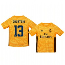 Youth 2019/20 Real Madrid Thibaut Courtois Yellow Goalkeeper Home Authentic Jersey