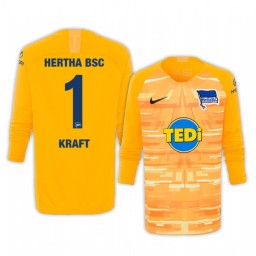 2019/20 Hertha BSC Thomas Kraft Yellow Goalkeeper Long Sleeve Authentic Jersey