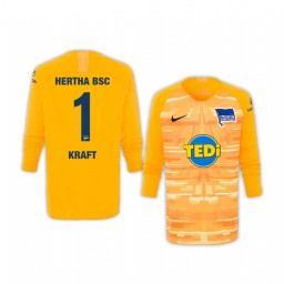 Youth 2019/20 Hertha BSC Thomas Kraft Yellow Goalkeeper Long Sleeve Authentic Jersey